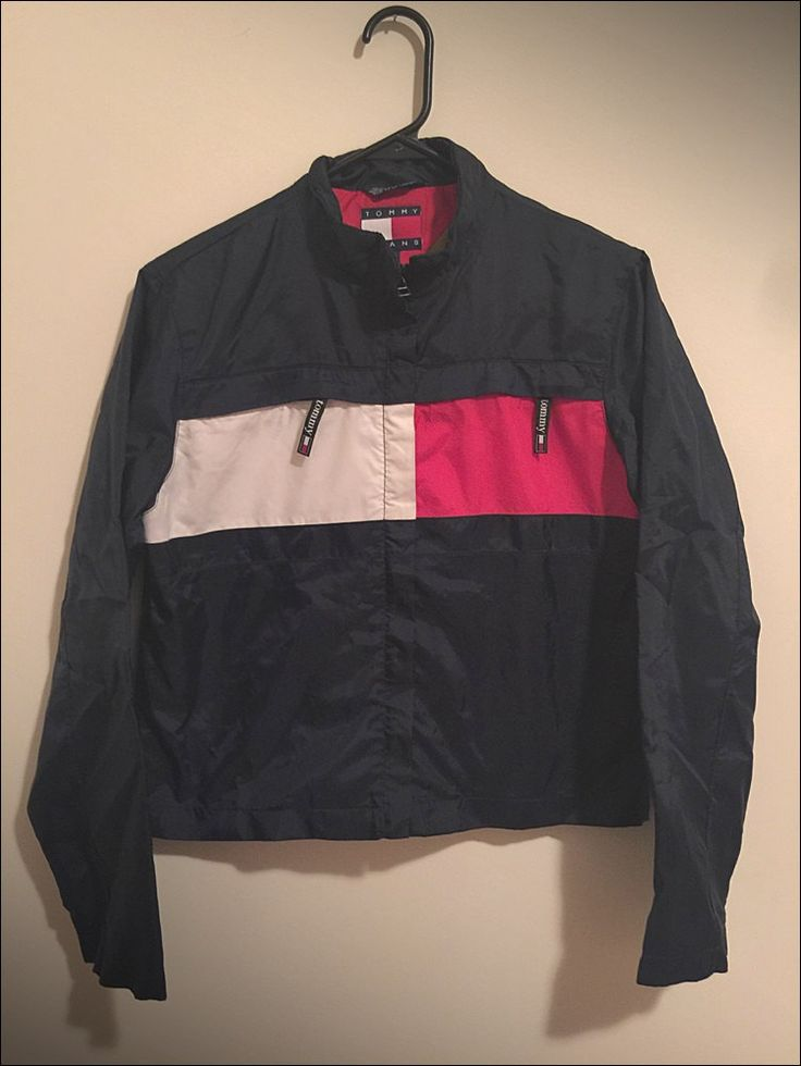 Vintage 90's Women's Tommy Hilfiger Color Block Spelled Out Jacket - Size Small by JourneymanVintage on Etsy