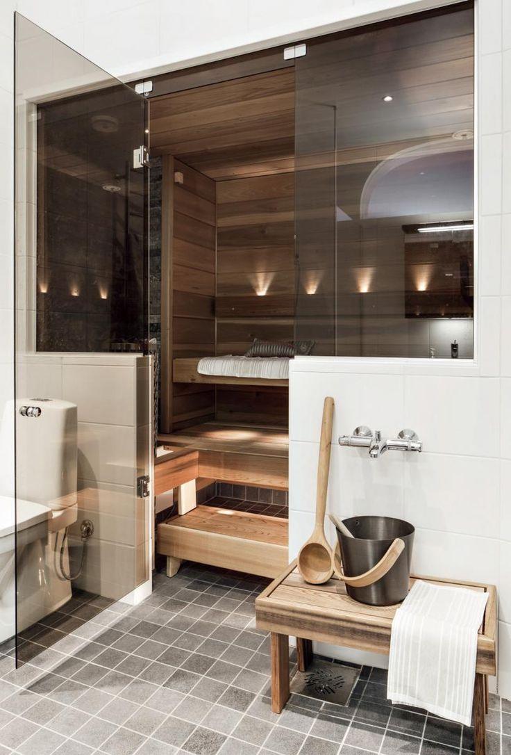 Оригинальные проекты дома с баней под одной крышей: все о реализации и 65+ практичных и надежных вариантов http://happymodern.ru/proekt-bani-s-domom-pod-odnoj-kryshej/ Проект бани с домом под одной крышей: банная парилка в стиле модерн, находящаяся в ванной комнате жилого дома