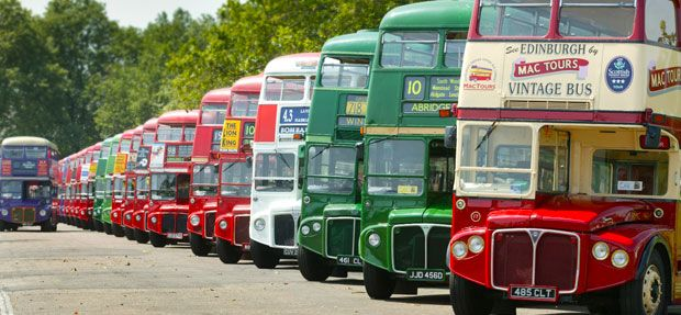 Londons old routemaster buses.