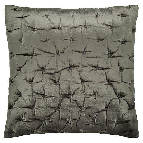 John Lewis Velvet Stitch Cushion Cover, Steel