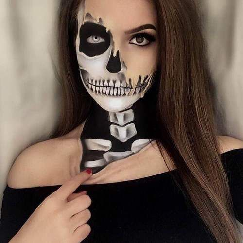 Best 25+ Half Skull Makeup Ideas On Pinterest | Half Skeleton Makeup Halloween Skeleton Makeup ...