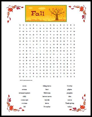 A fall themed word search printable featuring 21 words and phrases about fall sights and holidays
