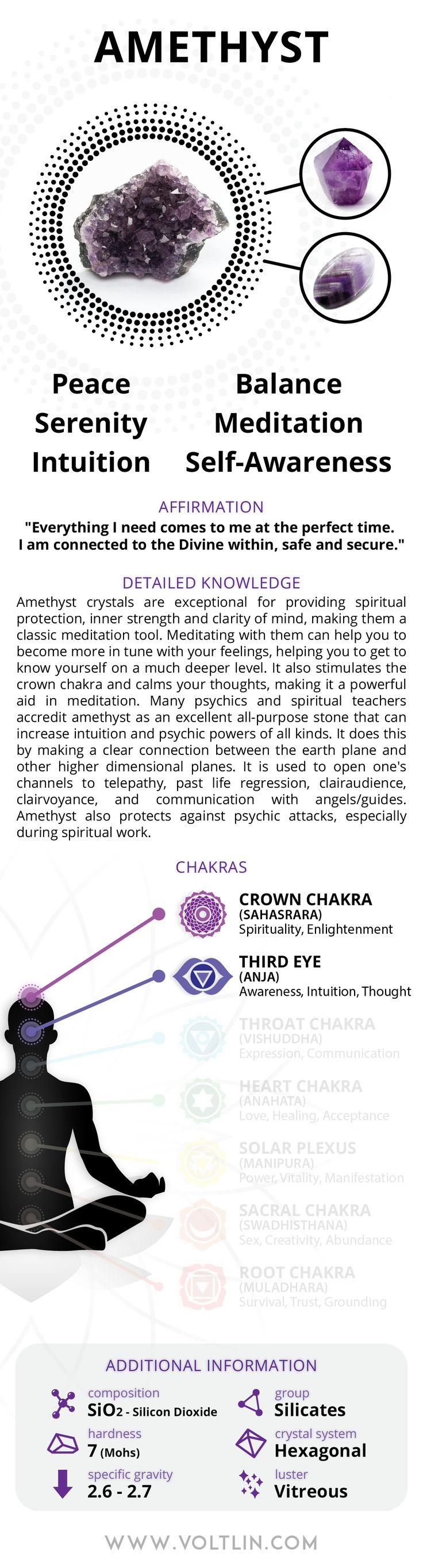 Express Shipping: 2-6 days (ships out within 1 business day) Warranty: Free repairs for up to 6 months Description Amethyst crystals are exceptional for providing spiritual protection, inner strength