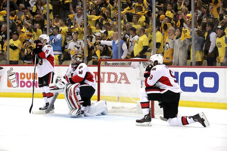 PITTSBURGH, PA - MAY 25: Chris Wideman #6, Craig Anderson #41 and Bobby Ryan #9 of the Ottawa Senators react after the game winning goal by Chris Kunitz #14 of the Pittsburgh Penguins in the second oevertime in Game Seven to win the Eastern Conference Final during the 2017 NHL Stanley Cup Playoffs at PPG PAINTS Arena on May 25, 2017 in Pittsburgh, Pennsylvania. The Pittsburgh Penguins defeated the Ottawa Senators with a score of 3 to 2. (Photo by Kirk Irwin/Getty Images)