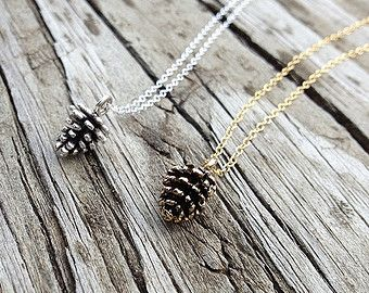 Pine Cone Necklace Sterling Silver Pine Cone by treasuredcharms