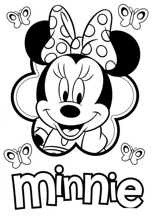 Minnie Smile Coloring Pages For Kids Printable Mickey Mouse