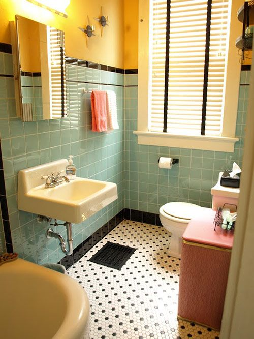 Kristen And Paulu0027s 1940s Style Aqua And Black Tile Bathroom, Built From  Scratch. Vintage Bathroom Decor1950s ...