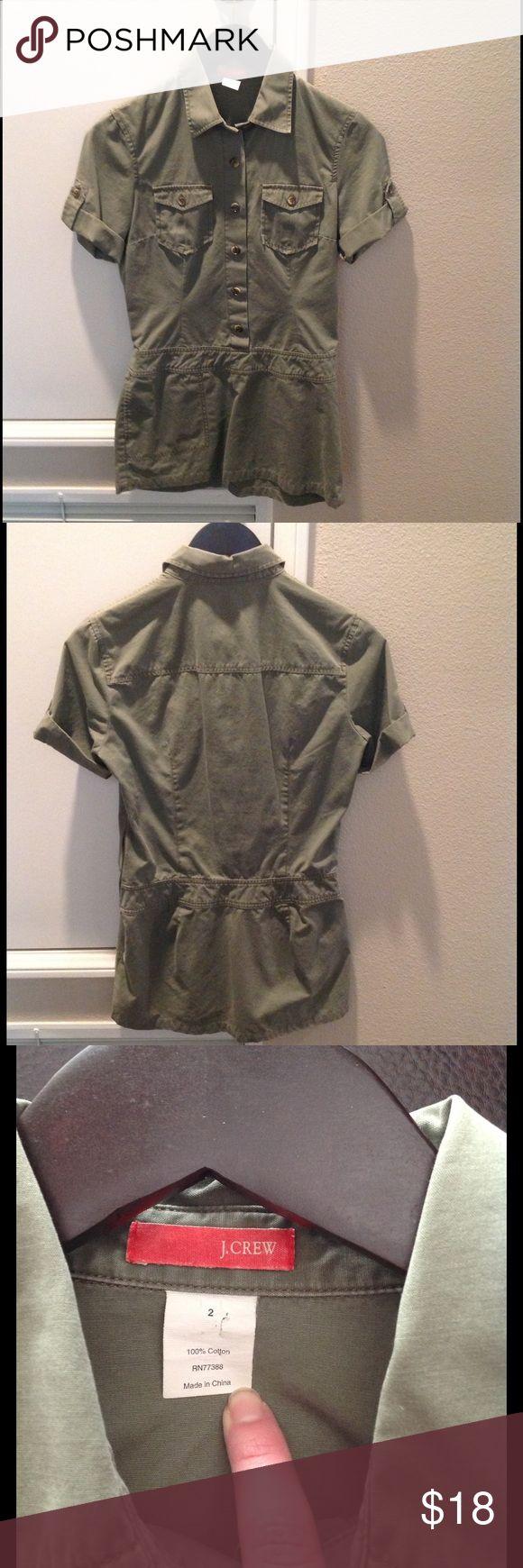J Crew shirt J Crew safari style long shirt.  Great with leggings & boots or skinny jeans! Side zipper. EUC smoke & pet free home J. Crew Tops