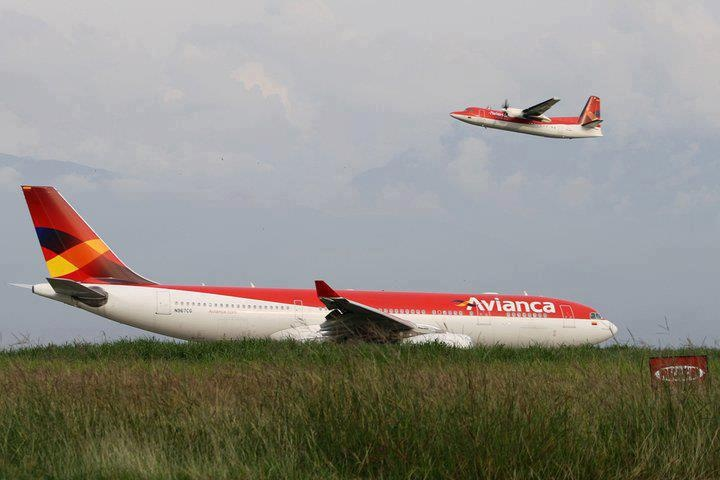 Avianca Colombia Airbus A330-243 (foreground) and Fokker 50 (background)