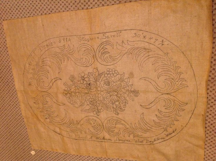 Vintage Burlap Rug Hooking Pattern Pearl McGowen - Staghorn Scroll #PearlMcGowen