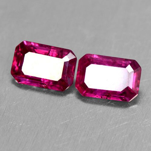 1.26 Cts Natural Top Blood Red Ruby Gemstone Pair Emerald Cut 6 x 4 mm Burma  #Unbranded