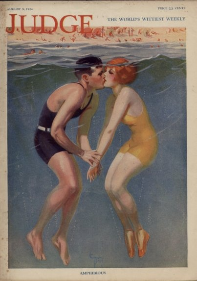 They're just so cute together! AMPHIBIOUS, 1924  Great Image by ENOCH BOLES ,   Famous American Pinup artist
