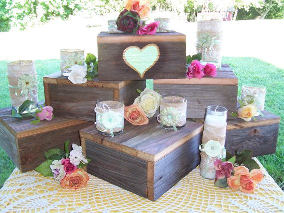 cupcake cake wood stand 10 x 10 rustic Box Plate by primitivearts, $35.00