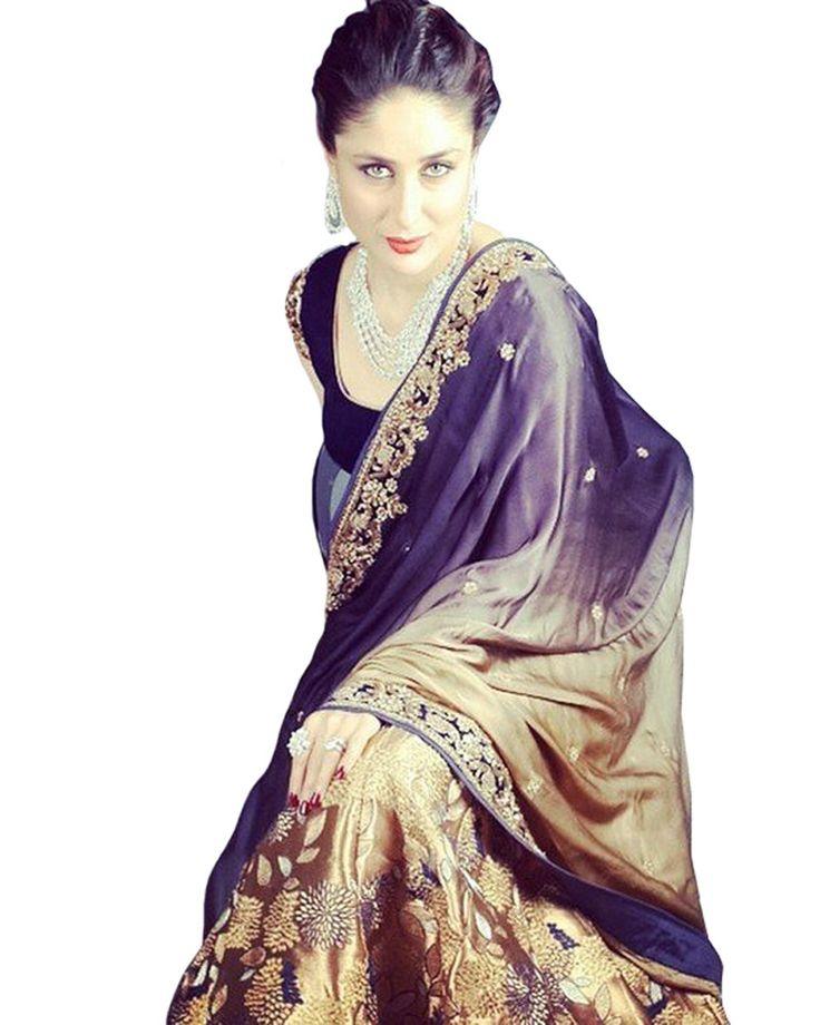 Karina Designer Gold Blue Saree