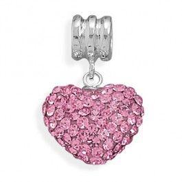 Pink Crystal Heart Charm Bead