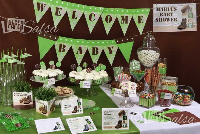 army baby shower decorations   Military Baby Shower - Green Camo Baby - Paper Salsa