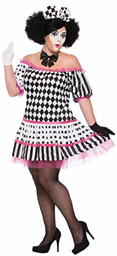 Harlequin Tiers Of A Clown Black White Womens Adult Plus 1822 Halloween Costume *** Details can be found by clicking on the image.