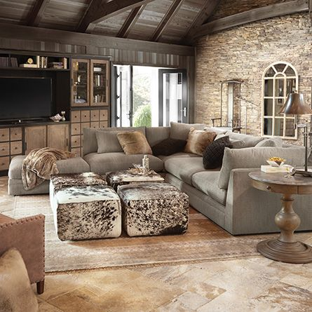 prairie leather ottoman in brindle speckled love this coupled with the couch color furniture layoutliving room - Living Rooms With Ottomans