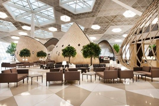 Turkish architecture studio Autoban just unveiled a set of futuristic wooden cocoons for Azerbaijan's Baku Airport.