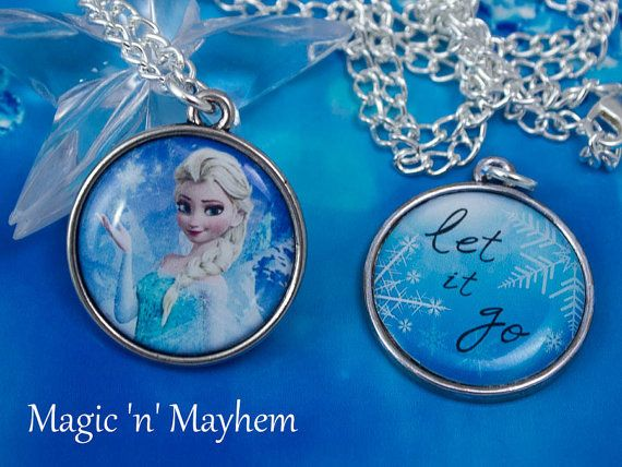 "Elsa - ""Let it Go"" - Disney's Frozen - Snow -  Winter - Snowflake - Double Sided  Artisan Necklace"