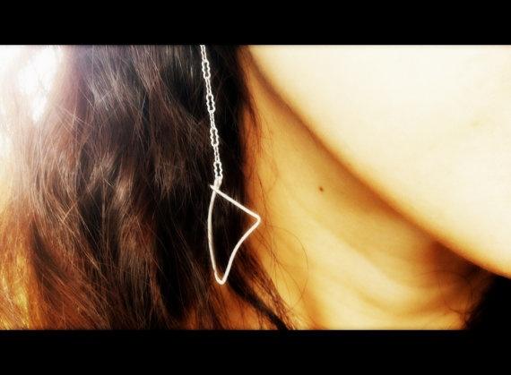 horn tusk earrings - silver tribal dangle earrings