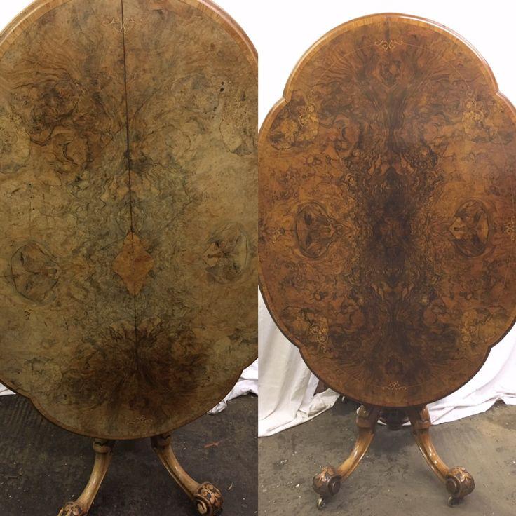 Antique Victorian walnut Lou table restoration – Daniel Chapman antique furniture restoration