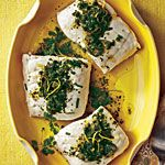www.gaea.gr Poached Halibut with Lemon-Herb Sauce