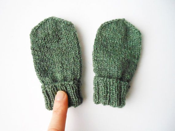Baby mittens in green, thumbless, gender neutral mittens, hand knit wool gloves, infant mittens