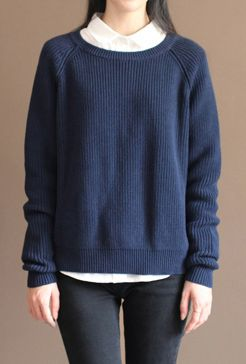 new-dark-blue-solid-color-cotton-knit-t-shirt-vintage-loose-batwing-sleeve-sweater-tops1
