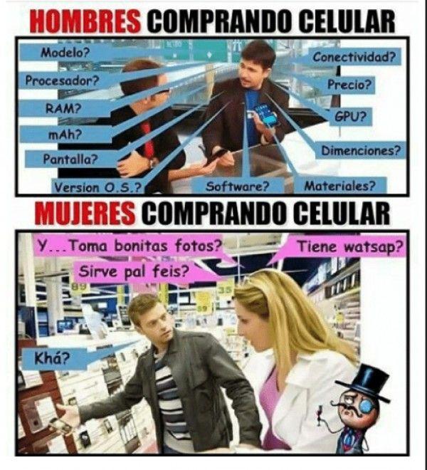 Hombres Vs. mujeres comprando celular