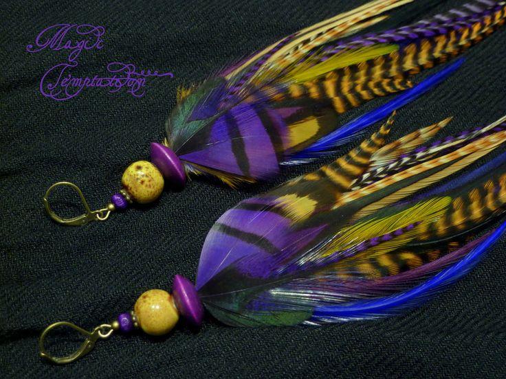 Купить Рыже-фиолетовые серьги из перьев - фиолетовый, фиолетовые серьги, серьги фиолетовые, серьги
