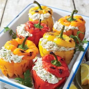 Crab-stuffed Grilled Bell Peppers Recipe - I'd have to try the crab stuffing before serving to guests.