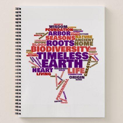 Inspirational Tree of Life Tag Cloud Notebook - original gifts diy cyo customize