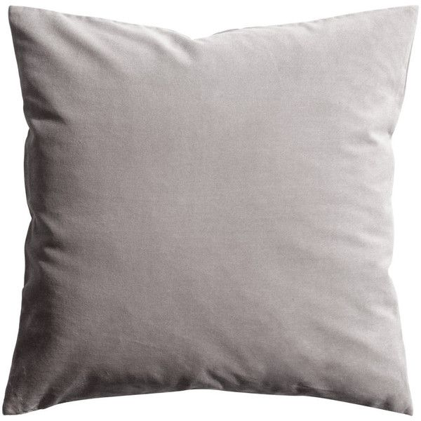 H&M Velvet cushion cover (£6.99) ❤ liked on Polyvore featuring home, home decor, throw pillows, pillow, cushion, grey, h&m, velvet accent pillows, grey throw pillows and grey home decor