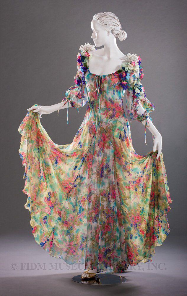 Dress, Giorgio di Sant' Angelo: ca. 1968-1972, printed polyester chiffon, silk flowers.