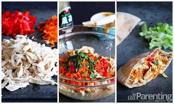 allParenting Thai chicken pita sandwiches prep collage