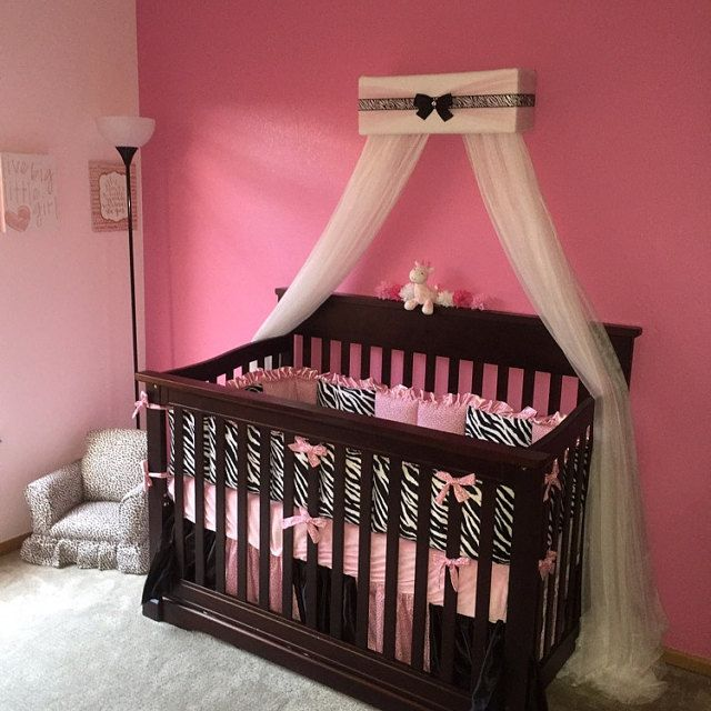 Girl nursery baby bedroom Bed Canopy Pink Zebra Crown Tiara Princess FREE WhItE ShEeR Curtains SHIPPING & 241 best Bedroom images on Pinterest | Bed canopies Canopy for ...