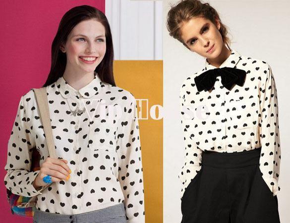 Дешевые Весна 2014 Сердце Печать Pattern шифон блузки рубашка Женская одежда Кнопка Shirt White 3645