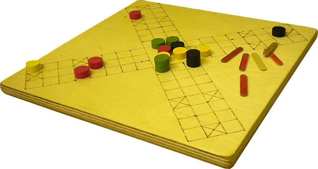 Chapter 1 covers Pachisi. Not the Parcheesi or Ludo that Westerners know from their childhood, but the ancient Indian game.  The book describes  how its various characteristics, including Bridge-style partnership play, make this a game that has far more tactical interest than its simplistic descendants more familiar in the West.