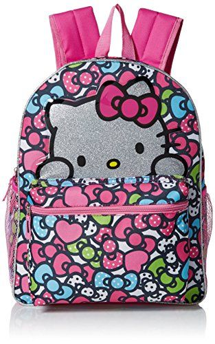 Hello Kitty Little Girls Glitter 16 Backpack Pink 16 ** More info could be found at the image url.