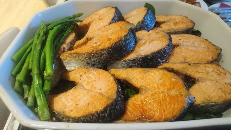 "Summer - weather can't be relied upon but fresh Scottish Salmon pan fried in butter with local steamed fresh asparagus. As my youngest daughter would say - ""Summer on a plate""."