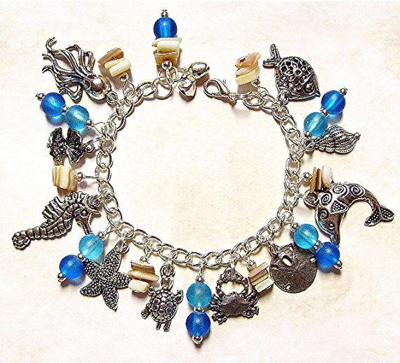 Ocean Jewelry  Ocean Blue Charm Bracelet  by LaughingVixenLounge, $32.00