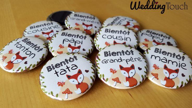 Petit renard magnets frigo idée annonce grossesse originale pour toute la famille: papi, mamie, tonton, tata etc... ©weddingtouch
