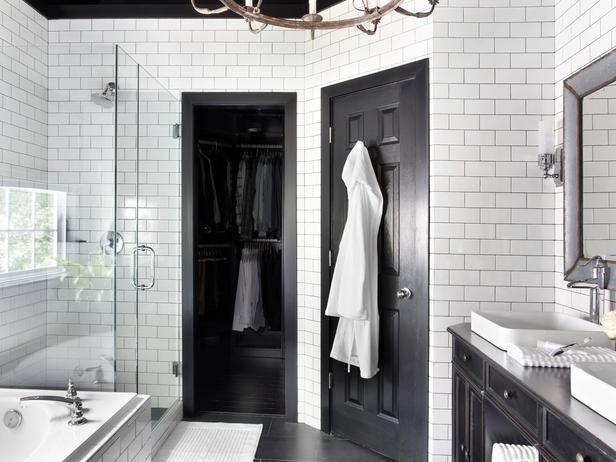 Classic + Elegant Bathroom Makeover - Timeless Black and White Master Bathroom Makeover on HGTV