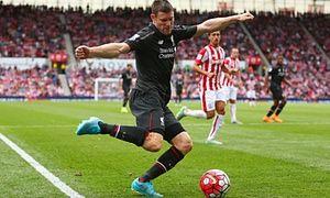James Milner on the ball, Stoke City v Liverpool