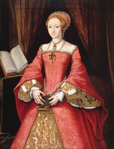 The Princess Elizabeth, at about age fourteen. I have always preferred the fashions of this earlier Tudor Era. Note the jewelry she wears, and do follow the link to read more on the jewelry worn by the Tudor upper classes.