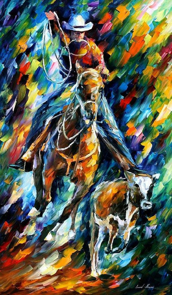 Cowboy — PALETTE KNIFE1 Oil Painting On Canvas by AfremovArtStudio, $299.00