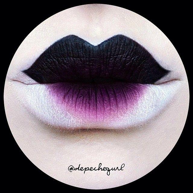 Geisha Style Lips | #lips #black #purple #white #lipcolor #lipstick #lipliner #makeup #ombre #ombrelips #halloween #geisha