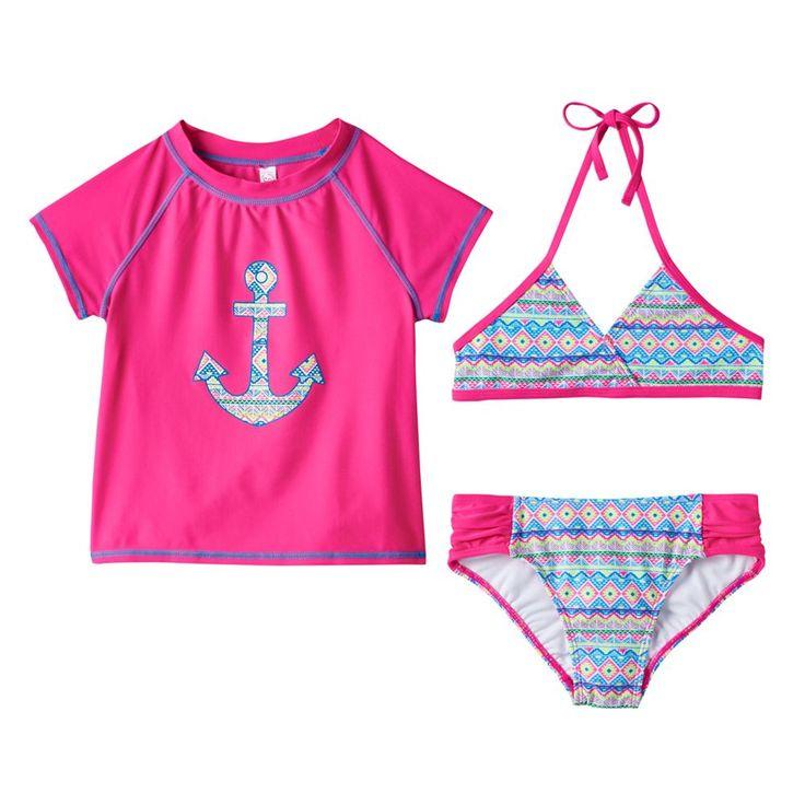 Girls 4-6x SO® 3-pc. Geometric Anchor Bikini & Rashguard Swimsuit Set, Size: Xs (5/6), Pink