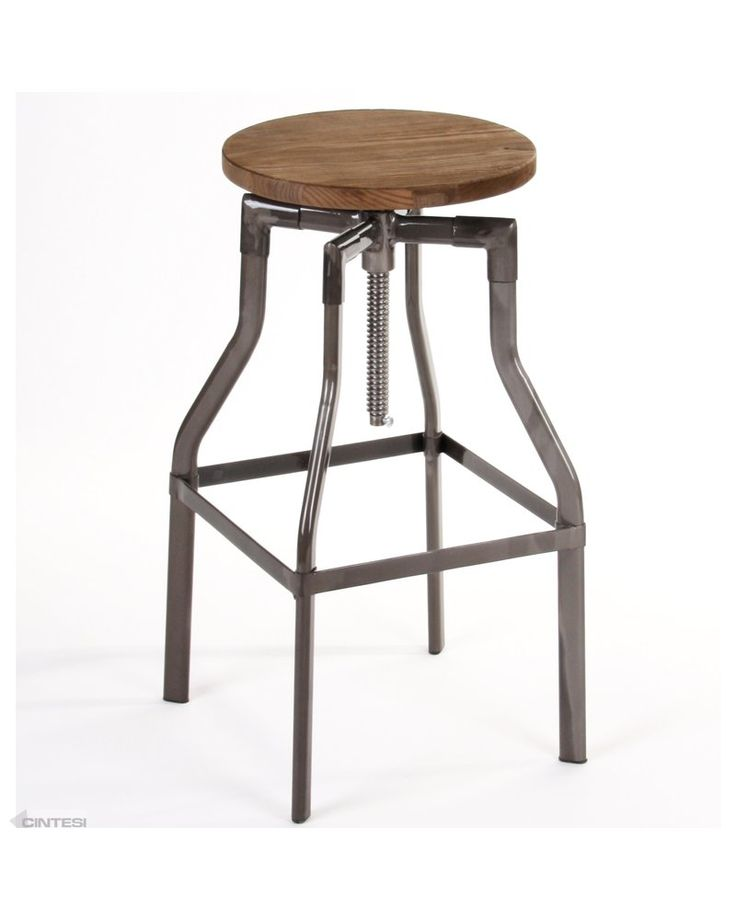 Industrial crank stool with elm wood seat and powder coated frame.